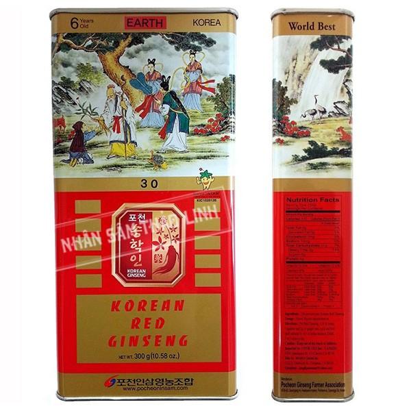 Sâm củ khô Pocheon 150g hộp thiếc hồng sâm hàn quốc