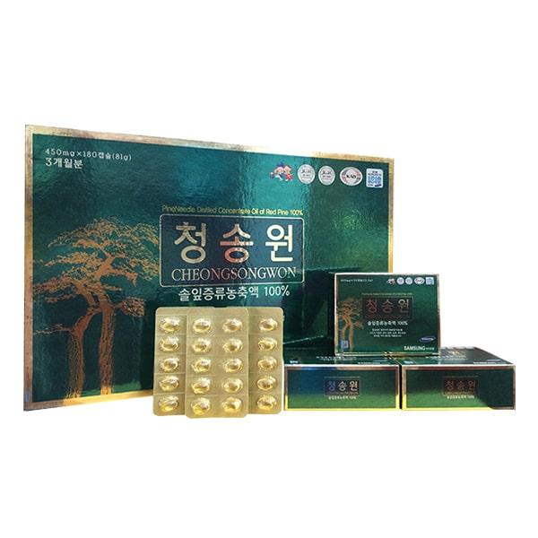 Viên tinh dầu thông đỏ Cheongsongwon hộp xanh 180 viên