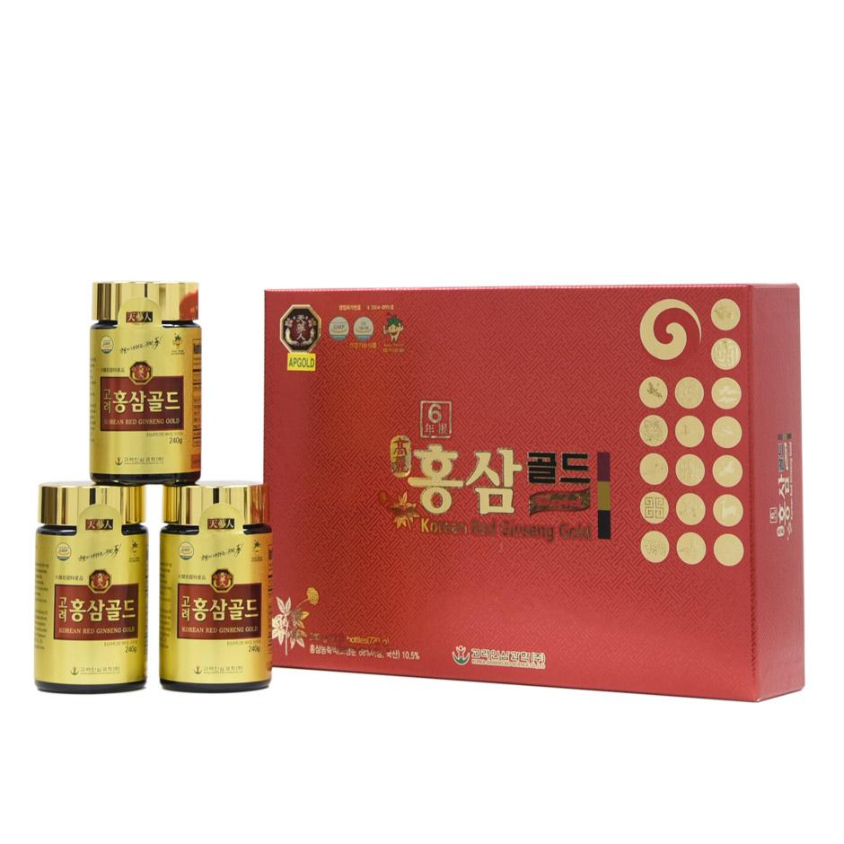 Cao hồng sâm Bio Apgold Gold 100% nguyên chất hộp 3 lọ x 240gr