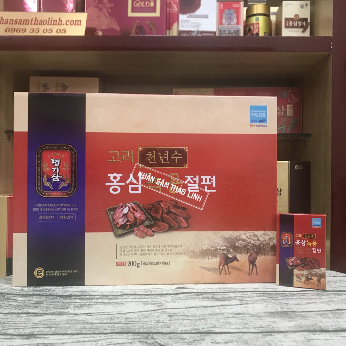 Sâm lát tẩm mật ong Choen Nyeon Su nhung hươu hộp 12 gói x 20gr